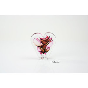 Crystal glass object Heart red / brown 12cm