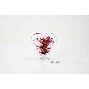 Kristalglas object Hart rood/bruin 12cm