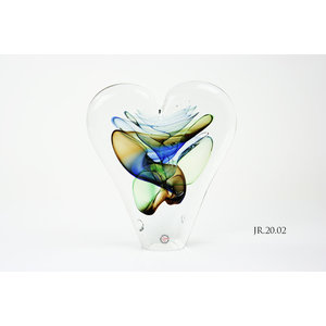 Object glas Hart goud/blauw/groen 20cm