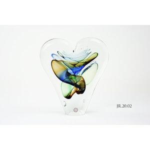Objektglas Herz Gold / Blau / Grün 20cm