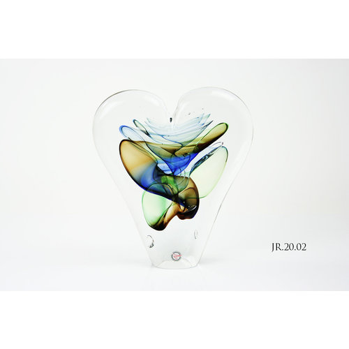 Object glass Heart gold / blue / green 20cm