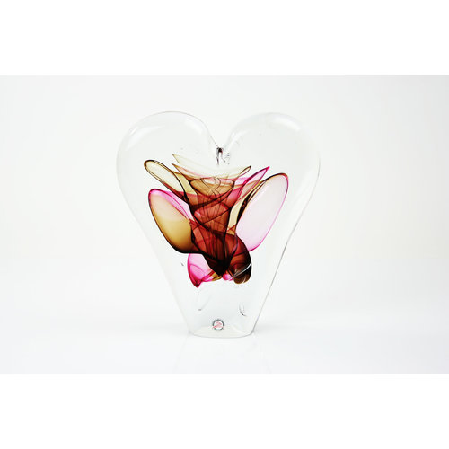 Glass object Heart red / brown 20 cm