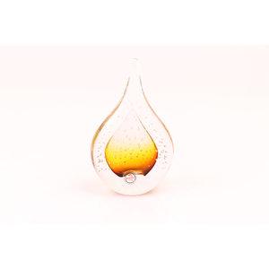 Figurenglas Tropfen mit Luftblasen braun 12cm
