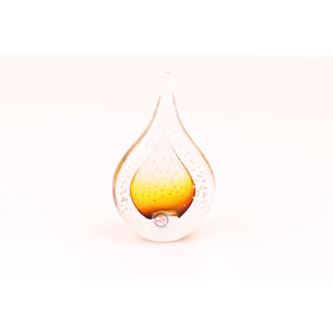 Figurine glass Drop with air bubbles brown 12cm