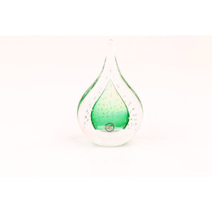 Glass statue Drop with air bubbles green 12 cm