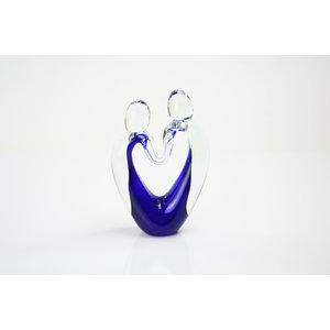 Object glas Verbondenheid blauw 16-18cm