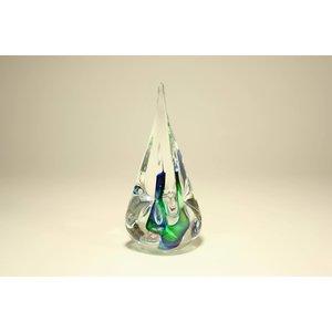 Kristallglas Tropfen grün / blaues Quadrat 12 cm