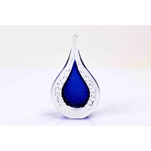 Glass figurine Drop with air bubbles blue 12 cm