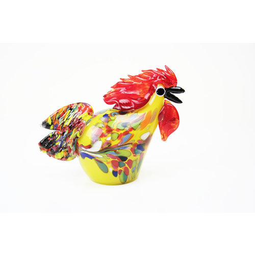 Image glass Rooster yellow 24 cm