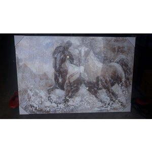 Olieverf schilderij 100x150cm Paarden
