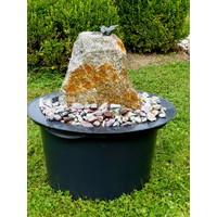 Brunnen Set aus Bronzestein mit Vogel