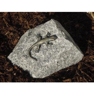 Bronzen hagedis op graniet rots