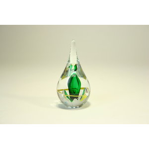 Drop of crystal glass green / yellow around 12cm