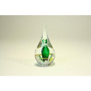 Druppel kristalglas groen/geel rond 12cm