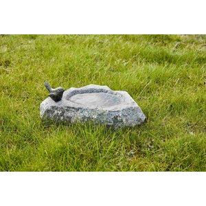 Vogeldrinkschaal graniet met bronzen mus