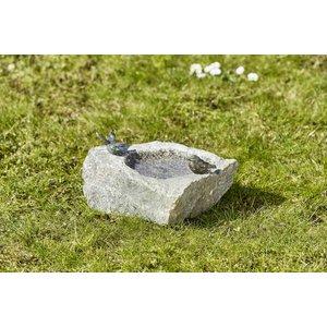 Vogeldrinkschaal graniet met 2 bronzen vogels