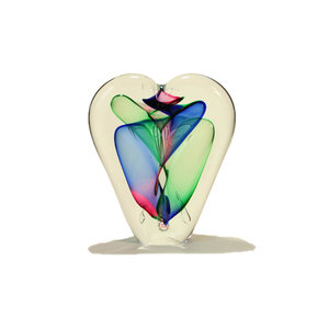 Glasobjekt Herz rot / grün / blau 20 cm