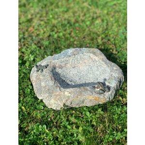Vogeltrinkschüssel Granit mit Bronzefrosch und Eidechse
