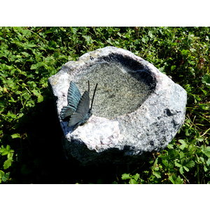 Insect watering hole with bronze butterfly