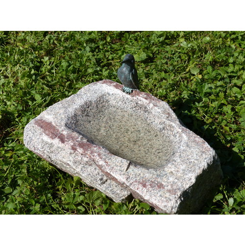 Bird Drinking Bowl Kingfisher on black forest stone
