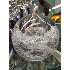 Glass oil lamp transparent with air bubbles 10 cm
