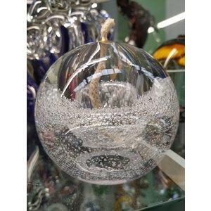 Glass oil lamp transparent with air bubbles 10cm