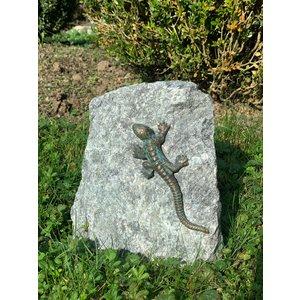 Granite block with bronze salamander