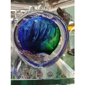 Briefbeschwerer aus Kristallglas Scheibe grün / blau 9 cm