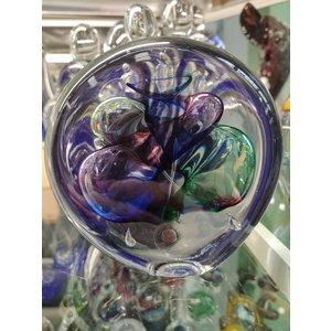Briefbeschwerer aus Kristallglas Scheibe Multi 1 9 cm