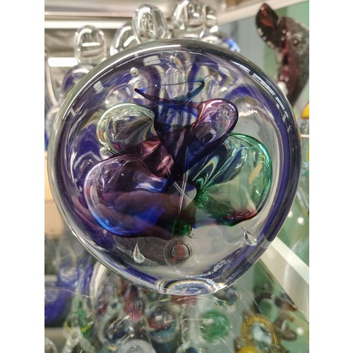 Crystal glass paperweight Disc multi 1 9 cm