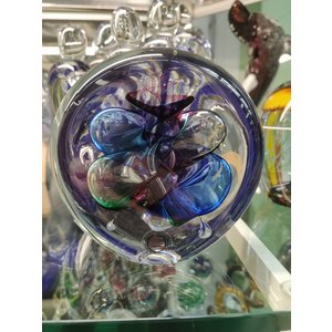 Crystal glass paperweight Disc multi 2 9cm