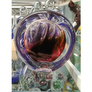 Briefbeschwerer Kristallglas Scheibe braun / rot 9 cm