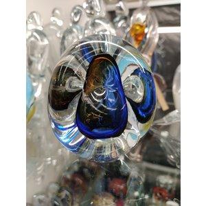 Briefbeschwerer Kristallglas Dreieck blau