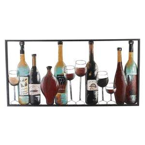Wanddeco flessen en glazen