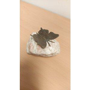 Bronzen vlinder op steen
