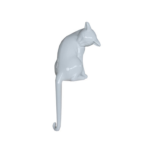 Long-tailed cat white high gloss