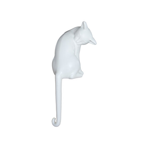 Cat with long tail white mat