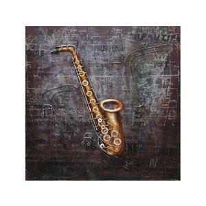 Schilderij 3d Saxofoon