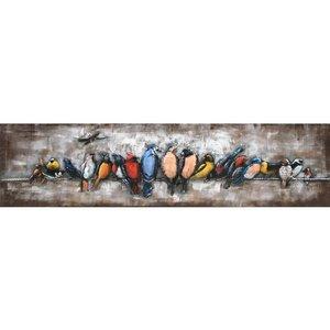 Painting 3d metal colored birds 158x40cm