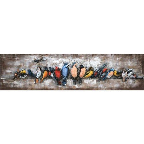 Schilderij 3d metaal kleurige vogels 158x40cm