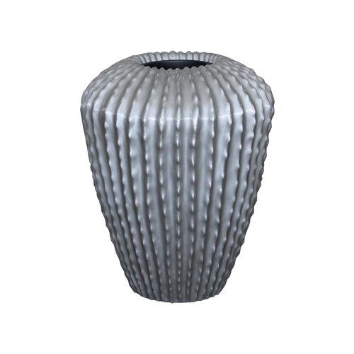 Cactuspot hoog zilvergrijs hoogglans 65cm