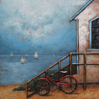 Painting 3d metal Beach hut small