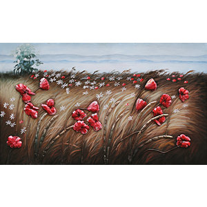 Painting 3d metal Poppies 70x120cm