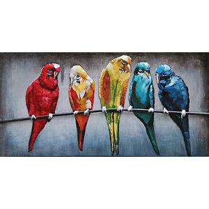 Schilderij 3d metaal Papagaaien 60x120cm