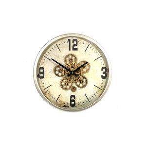 Wall clock round Gear Silver 46cm