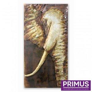 Schilderij 3d metaal Olifant 75x150cm