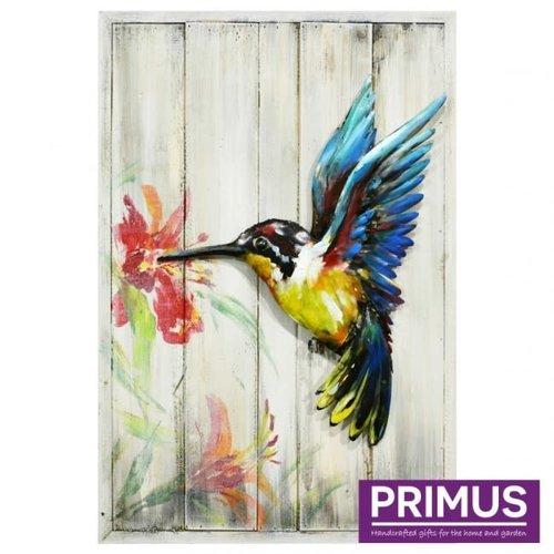 Schilderij 3d metaal op hout Kolibri 40x60cm