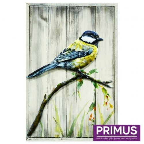 Painting 3d metal on wood Great tit 40x60cm