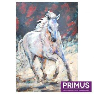Schilderij 3d metaal Wit Paard 80x120cm