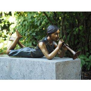 Eliassen Spuitfiguur brons meisje met fluitje